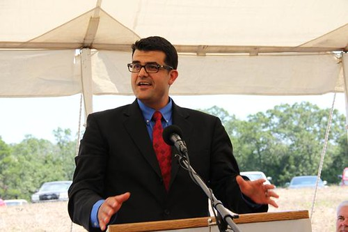 Administrator Padalino speaking at the Ozark Mountain Regional Public Water Authority Treatment Plant in Arkansas. The opening marked completion of the 500th water and environmental project completed by USDA through the Recovery Act. USDA photo.