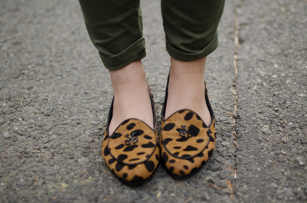Rebecca Minkoff leopard flat, spotter leopard, calf hair, smoking slipper, gap skinny mini