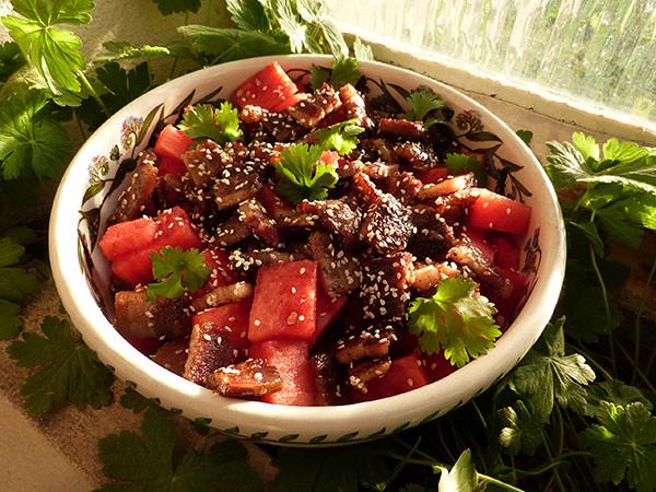 salade pastèque et lard fumé Jamie Oliver