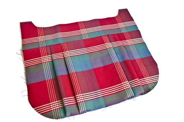 pleats in tartan fabric