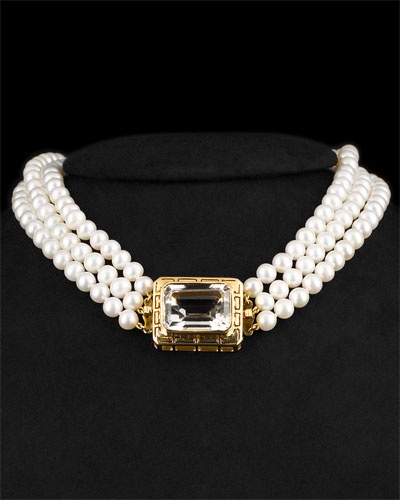 18K Topaz & Pearl Necklace