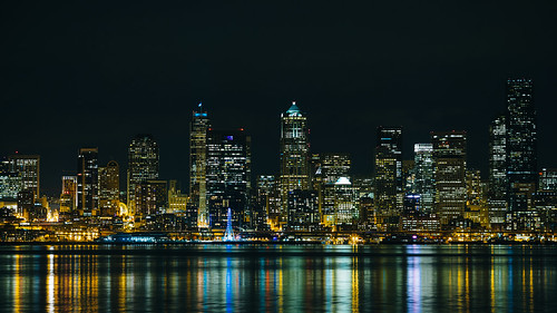 seattle night lights buildings skyline cityscape reflection pacificnorthwest canon longexposure water city greatwheel clear canon135mmf2lusm canoneos5dmarkiii washington johnwestrock
