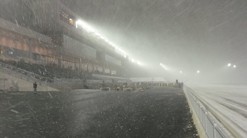Arctic Blast Takes A Few Seats Before Race 2 #Snow #Squall #Meadowlands
