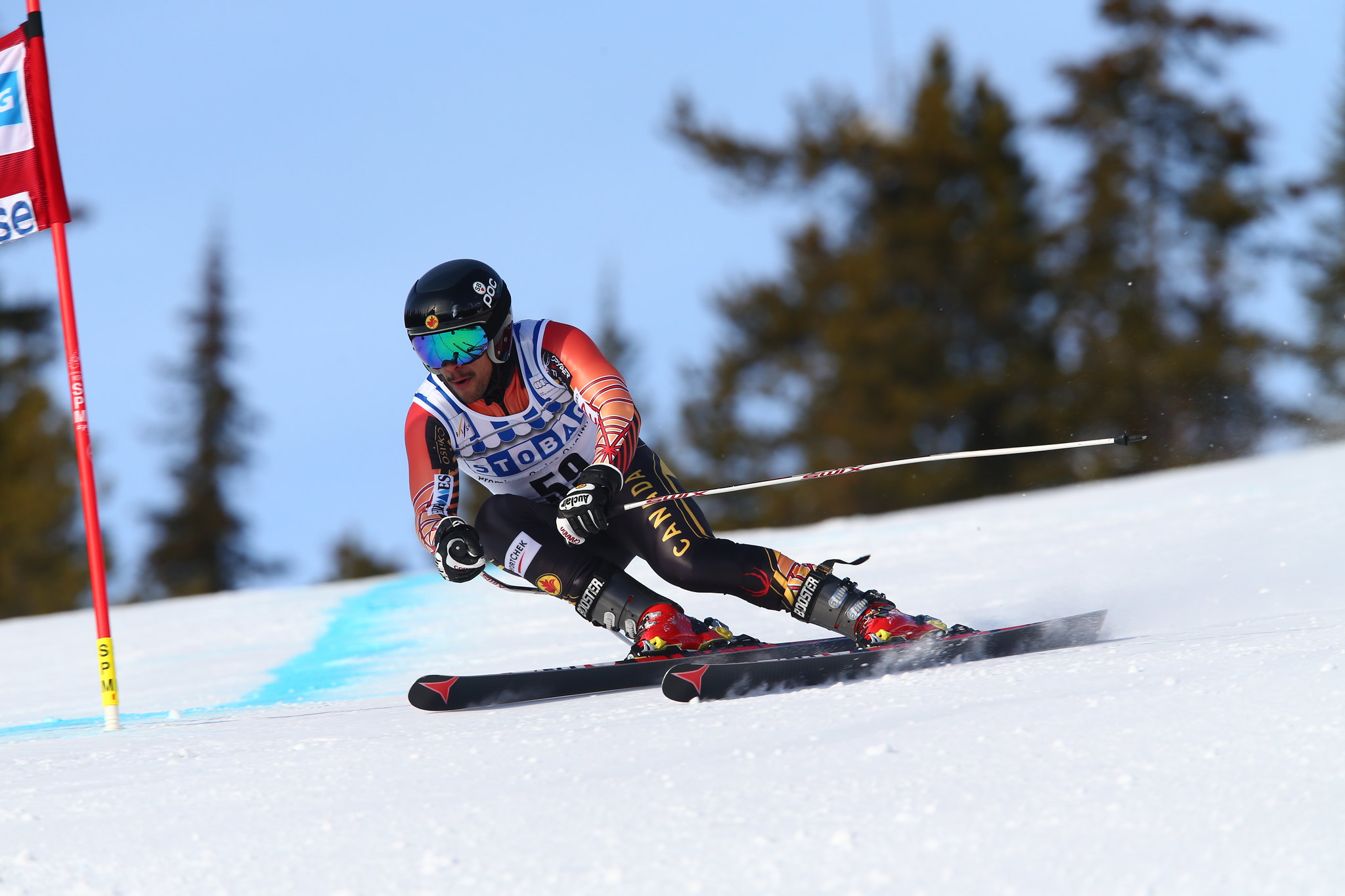 Conrad Pridy in action during training at the FIS Alpine World Cup in Lake Louise, CAN