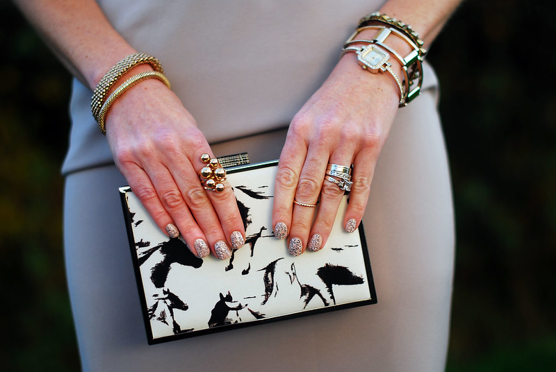 Grey cocktail dress, black & white print clutch