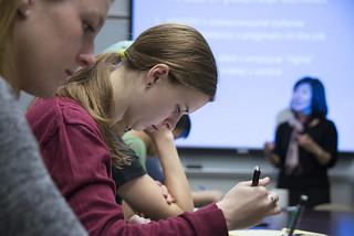 Students in Professor Sharon Goto's Industrial/Organizational Psychology class