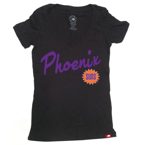 Phoenix Suns Sportiqe Women's Vintage Icing V-Neck Tee - Black