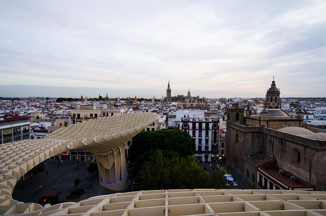 Fantastic views of the city of Sevilla from the top of Las Setas.