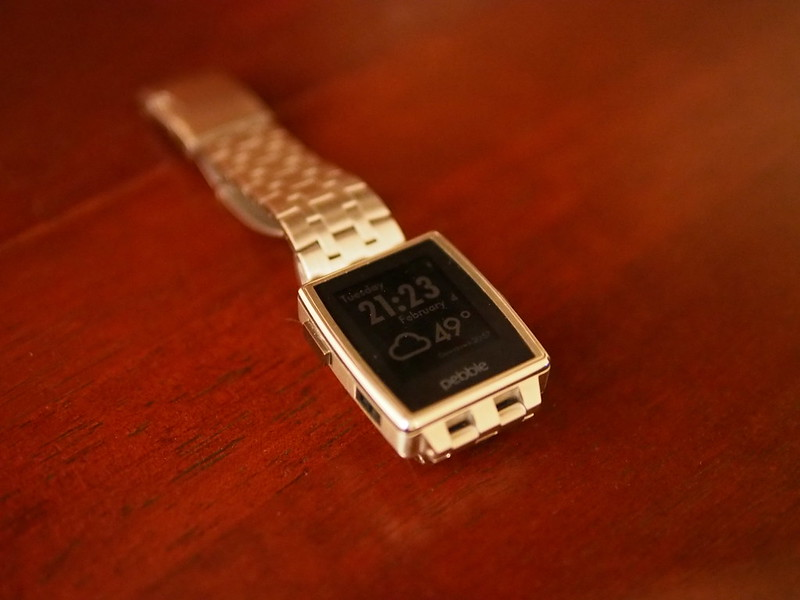 Pebble Steel on table