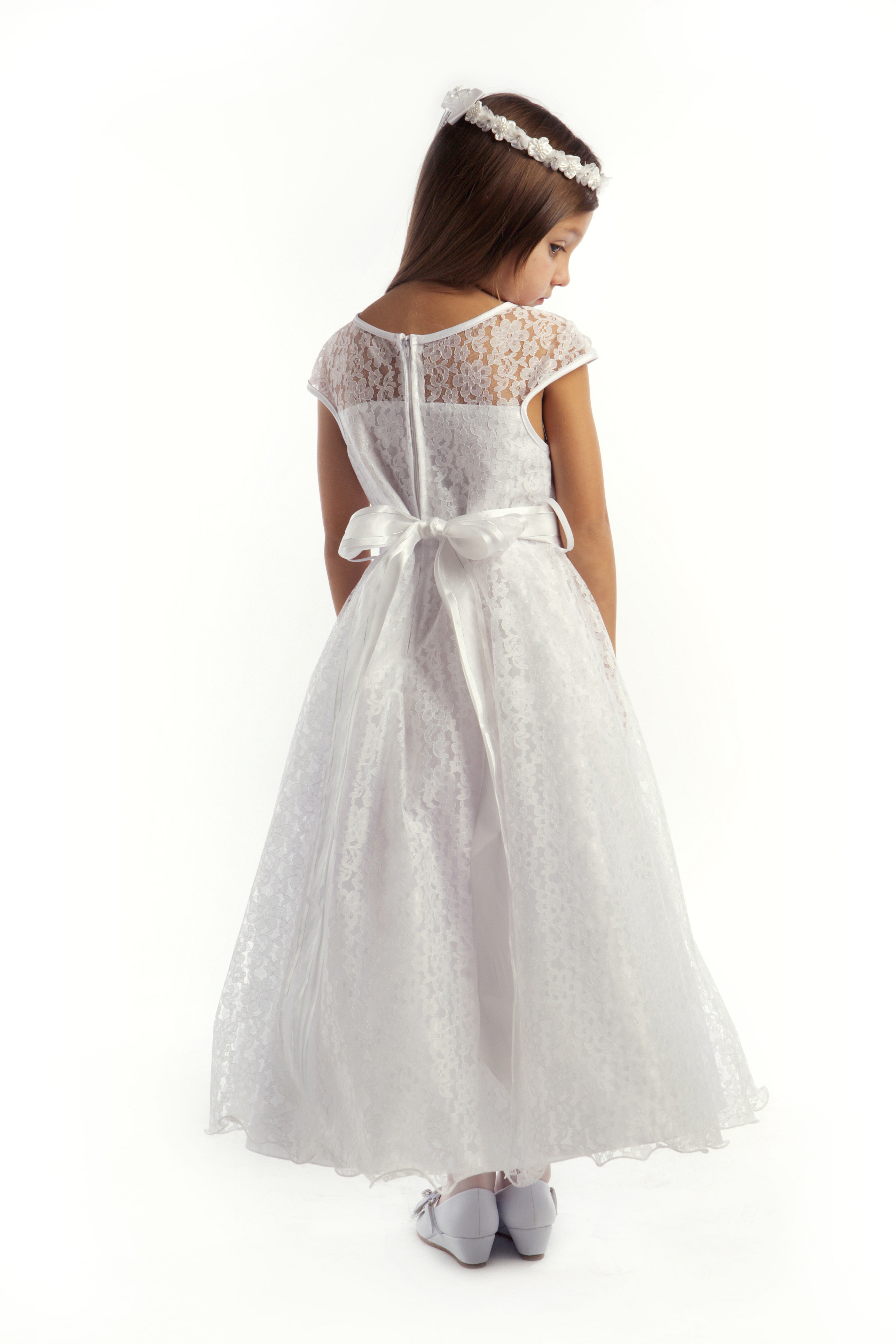 First Communion Flower Girl Dress Cap Sleeved Lace ... - photo #24