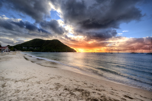 cruise sunset sea sun beach clouds boats sand paradise ship caribbean luxury stlucia hdr nikond800