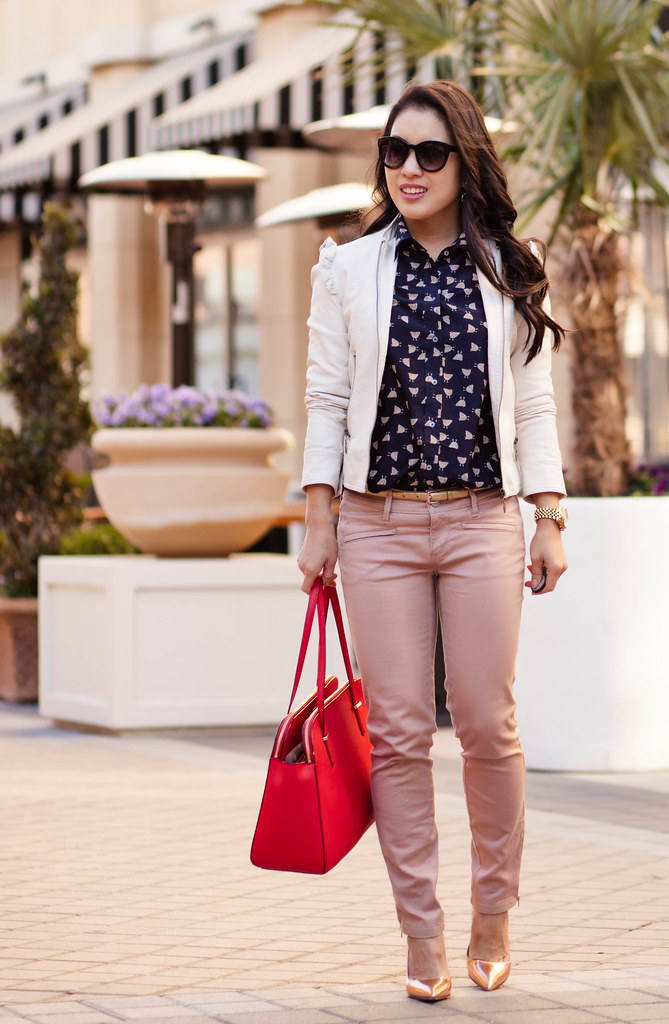 cute & little blog | white ruffle leather jacket, j.crew french hen shirt, pink moto pants, kate spade red elissa bag, kate spade rose gold pumps outfit