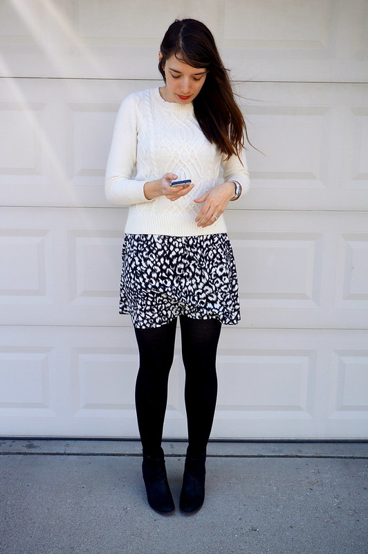 snow leopard skirt and cable sweater