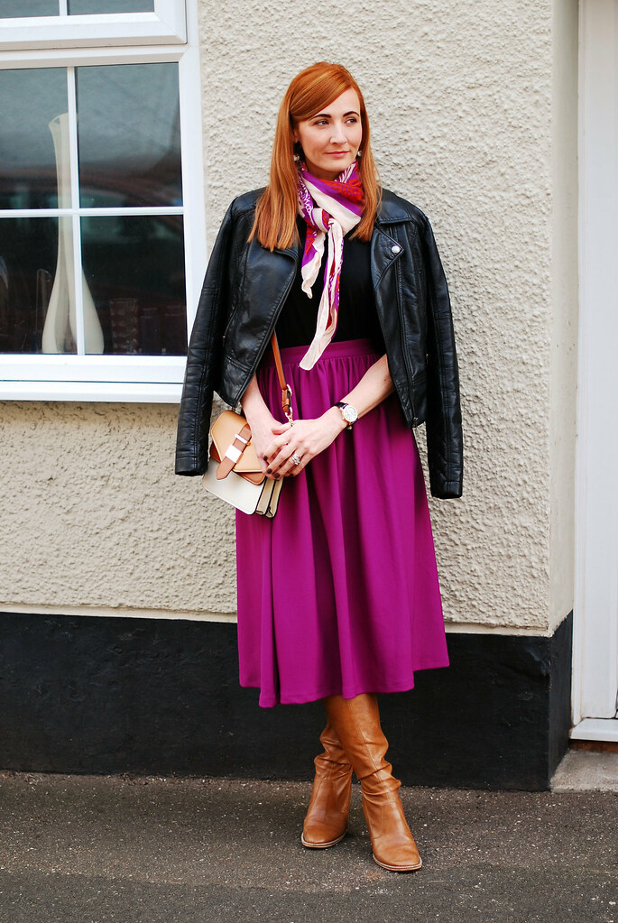 Biker jacket, midi skirt & tan boots