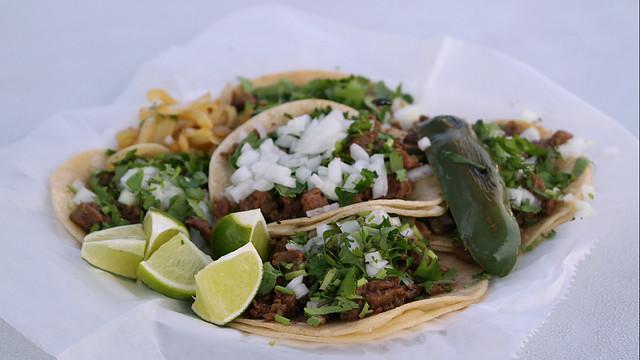 """Carne Azada tacos from Tacos Y Pupusas """"Las Palmas"""" Taco Truck in Des Moines, Iowa"""
