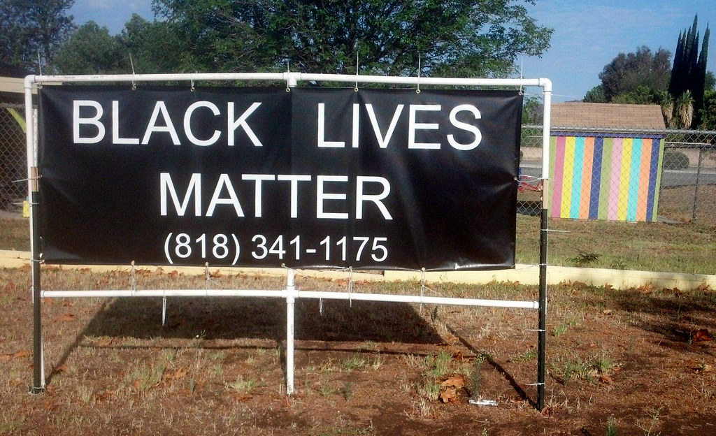 Black Lives Matter sign displayed in front of a Korean church