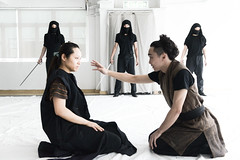 Macbeth in rehearsals: Lady Macduff converses with her son before they are killed by the murderers sent by Macbeth