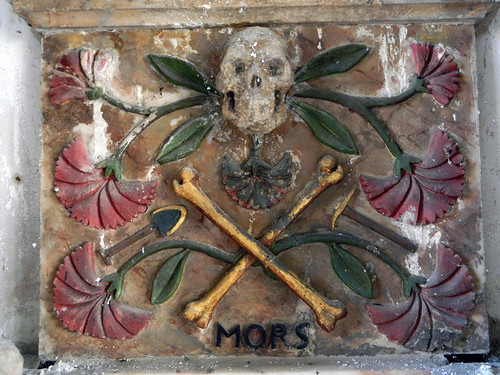A Carved Wooden Skull & Crossbones in St Grwsts Church in Wales