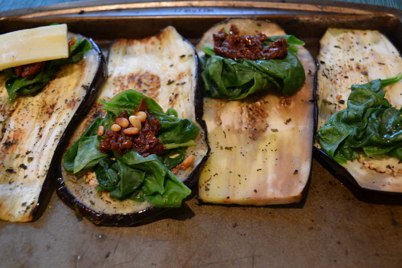 eggplant wraps with sun dried tomatoes and pine nuts | things i made today