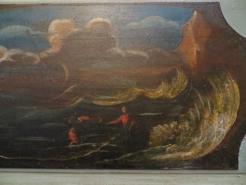 Jésus sur les eaux, détail des décors du choeur, église St Martin, Lévignacq, pays de Born, Landes, Aquitaine, France.