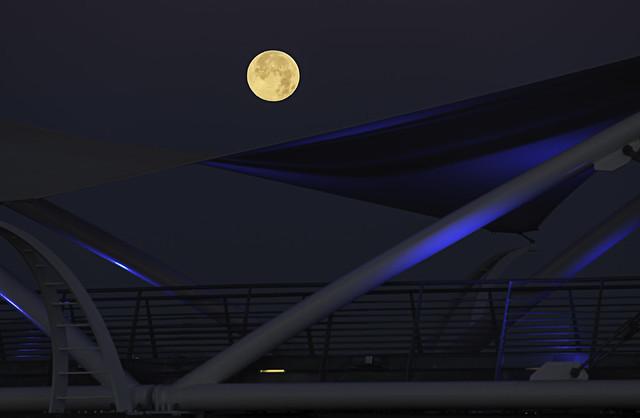 Super Moon Over Tempe Pedestrian Bridge [Explored]