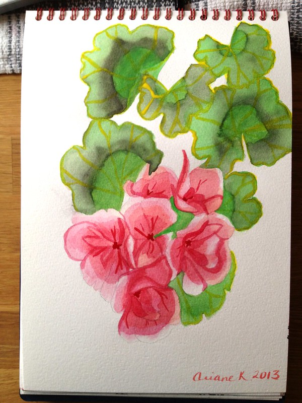 Day 3 - watercolour of geraniums (finished)