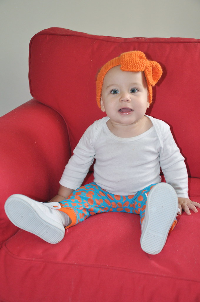 orange bow knit knitted headband ear warmer