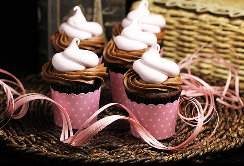 Pink Marshmallow Filled Chocolate Cupcakes