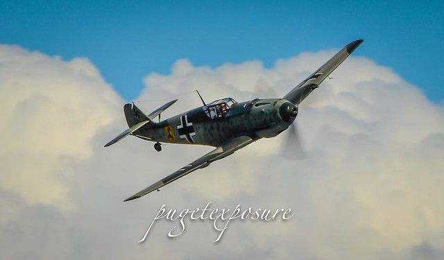 Messerschmitt Bf 109E-3 pops out of the clouds