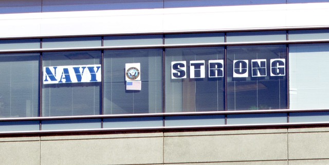 Navy Strong - office building sign near Washington Navy Yard - 2013-09-17