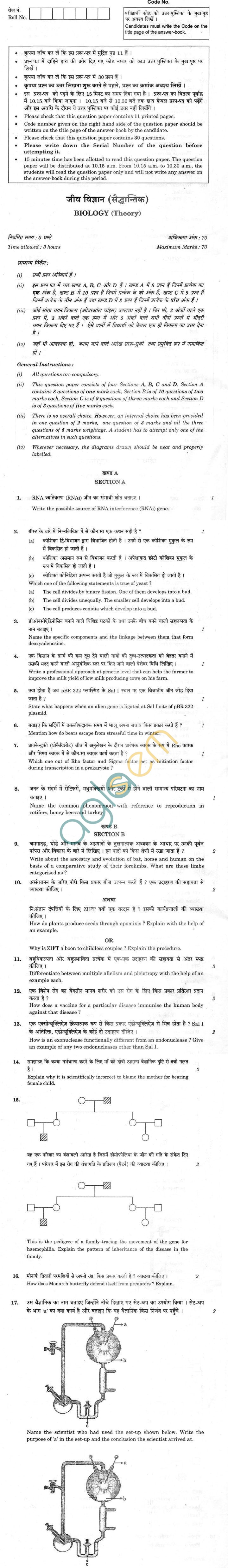 CBSE Compartment Exam 2013 Class XII Question Paper - Biology