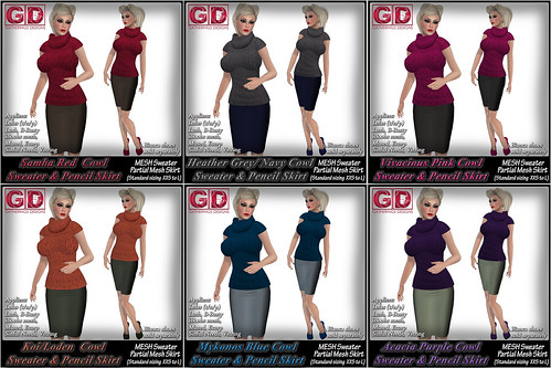 GD Compilation 6 Cowl Sweater and Partial Mesh Pencil Skirts by Stacia Zabaleta