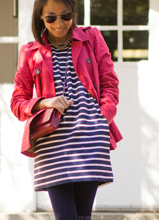 striped dress, red trench