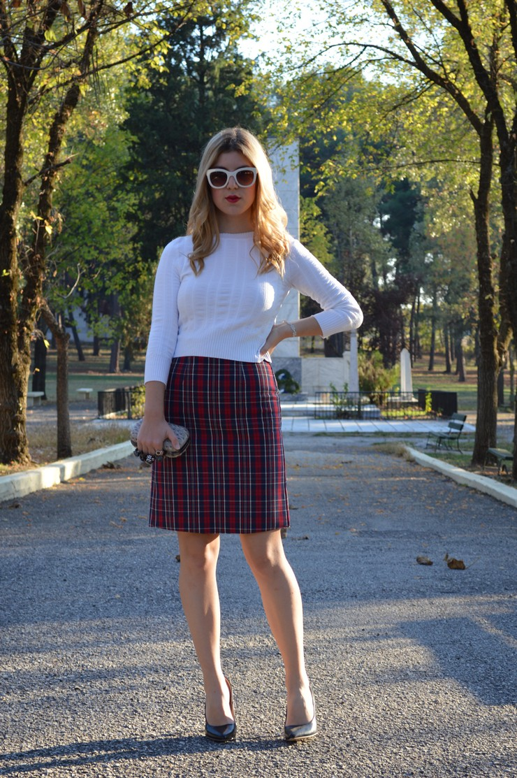 check skirt white top 14