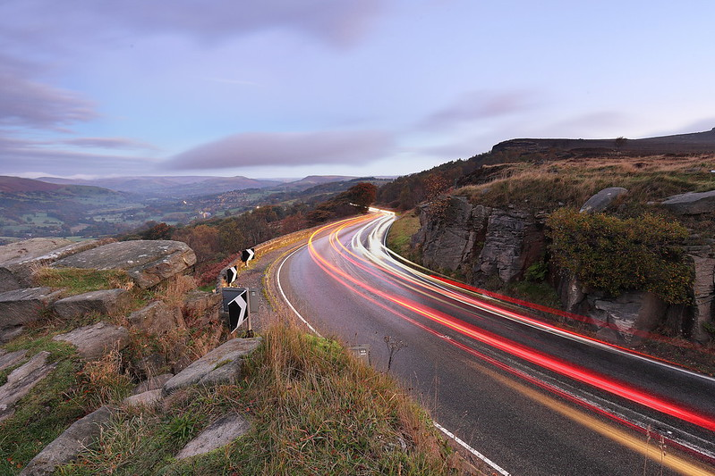 Light trails at surprise view in the Derbyshire Peak District