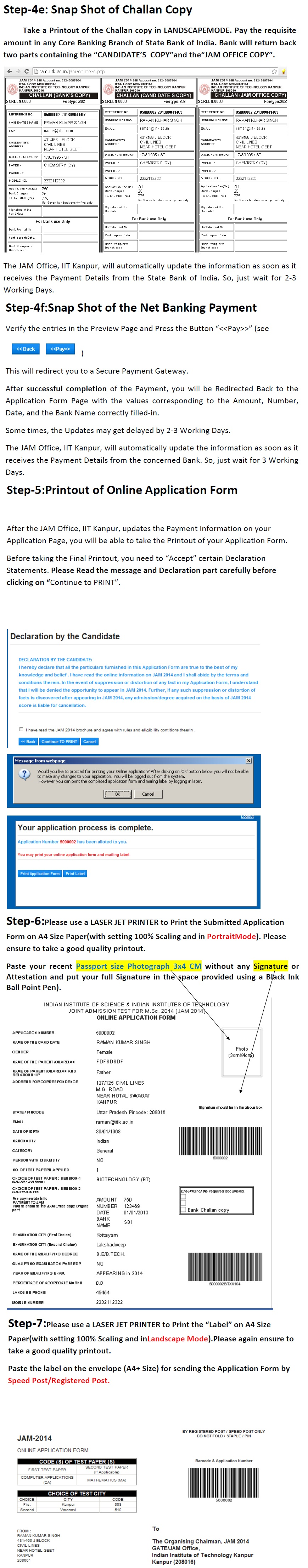 JAM 2014 Online Application Form in jam  Category
