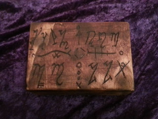 HD box 2 top view with Witch Theban script