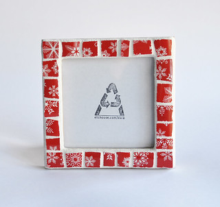 Red with Snowflakes Mosaic Frame