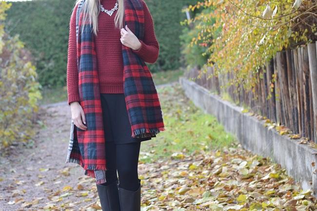Outfit Zaraschal rot weinrot (2)