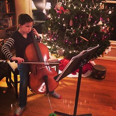 Cello by Christmas light.