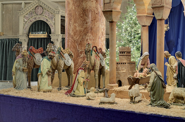 Cathedral Basilica of Saint Louis, in Saint Louis, Missouri, USA - crèche with three magi taken on the Epiphany