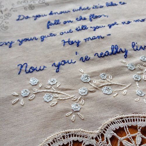 Eels Lyrics Embroidery - WIP