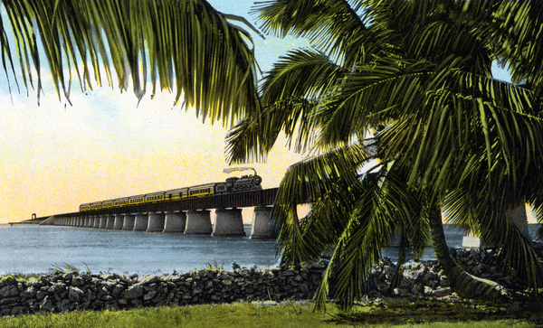 East Coast Railway train crossing Moser Channel on the Key West extension of the Overseas Railroad