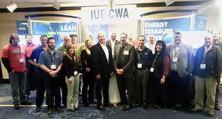 IUE-CWA President Jim Clark with CWA and IUE-CWA participants at Good Jobs, Green Jobs conference.