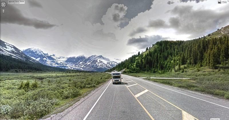 Google Street View - Pan-American Trek - Icefields Parkway!