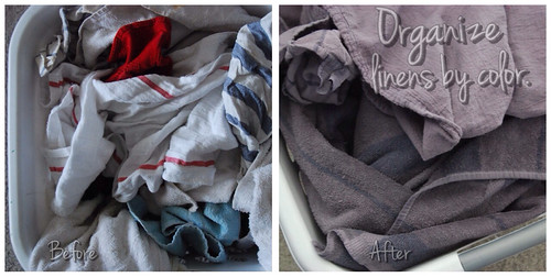 Organize linens by color