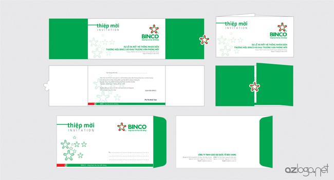 Mẫu thiết kế thiệp mời và phong bì đựng thiệp mời Công ty tư vấn du học BINCO
