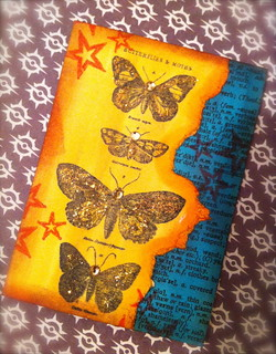 Dictionary page with a butterfly