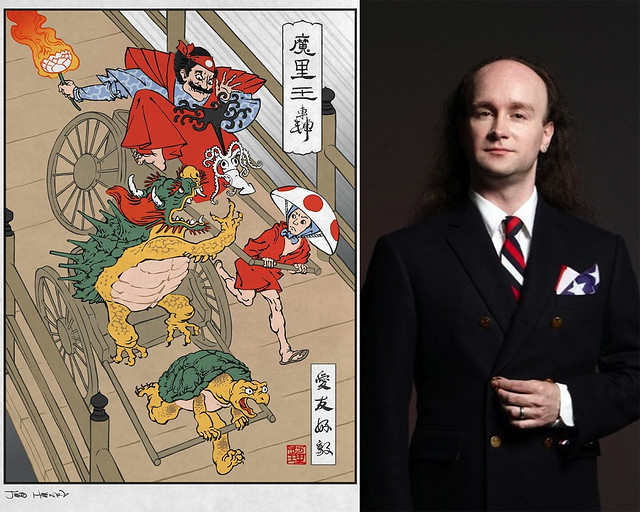 Ukiyo-e Heroes (left); photo courtesy of Jed Henry. Charles Battersby, host of the Battersby Show.