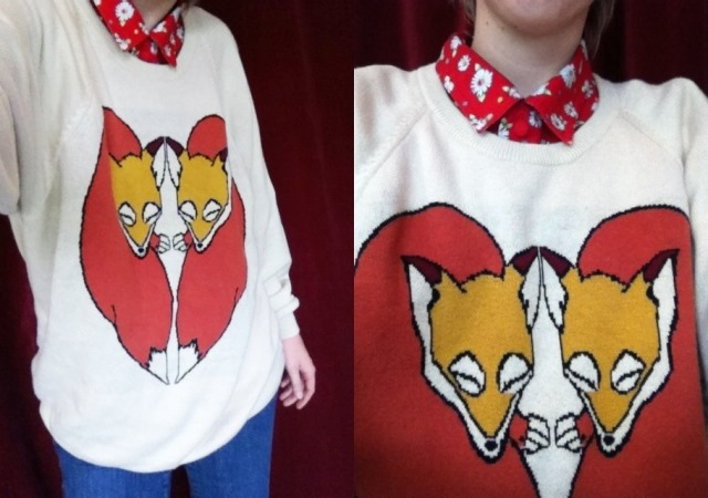 fox heart sweater over red floral button-down and jeans